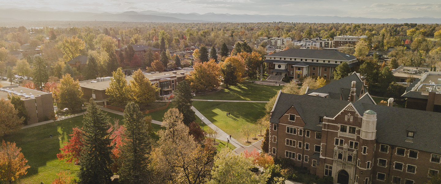 Drone shot of Regis campus in fall