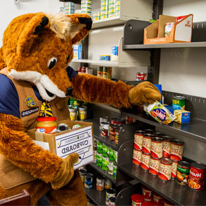 mascot putting food items on pantry shelves