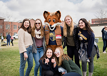 mascot with group of students