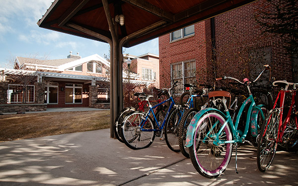bike rack outside residence village